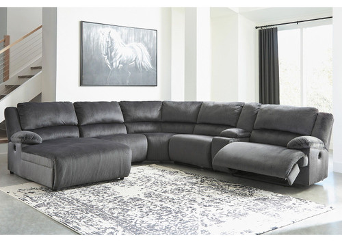 Clonmel Charcoal LAF Press Back Power Chaise, Armless Chair, Wedge, Armless Recliner, Console with Storage & RAF Zero Wall Power Recliner Sectional
