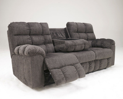 Acieona Slate Reclining Sofa w/Drop Down Table