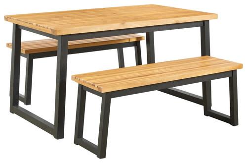Town Wood Brown/Black Dining Table Set (3/CN)