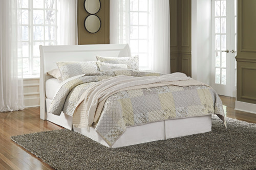 Anarasia White Queen Sleigh Headboard with Bolt on Bed Frame