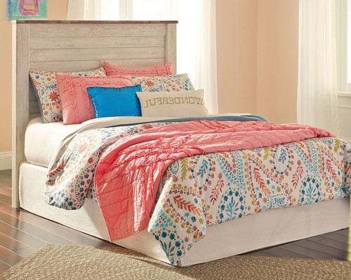 Willowton Whitewash Full Panel Headboard with Bolt on Bed Frame
