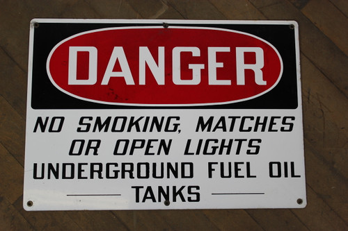"Vintage Porcelain Enamel ""Danger"" Sign"