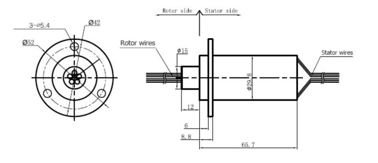 WIND GENERATOR SLIP RING 6 WIRE 30 AMP PER CONDUCTOR / WIRE