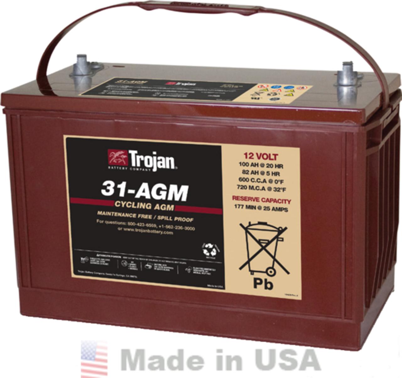 Trojan 31-AGM 12V, 100AH (20HR) AGM Sealed Battery