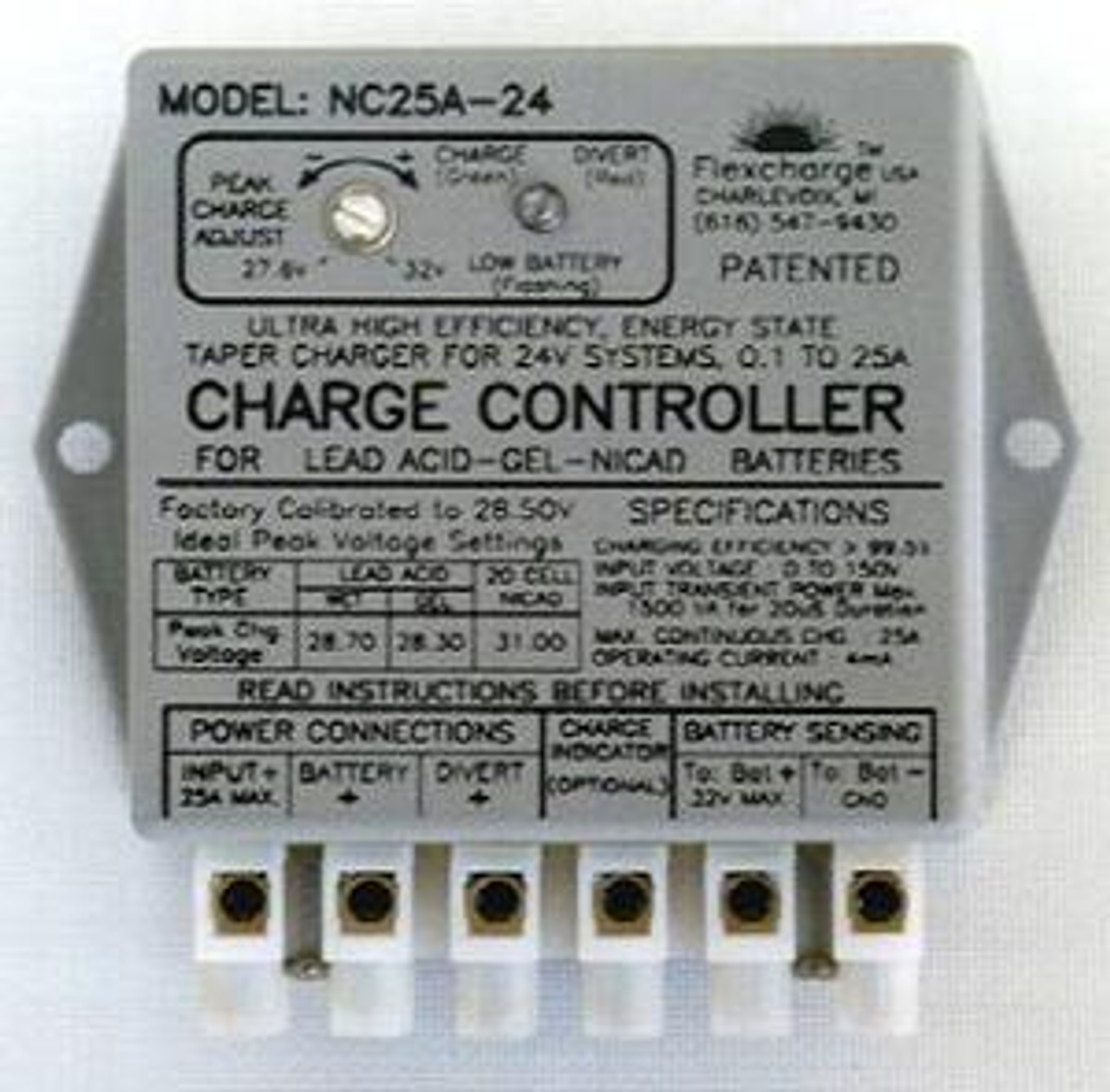 Flexcharge Solar Wind Hydro Turbine Charge Controller NC25A-24 Hybrid 12 Volt US