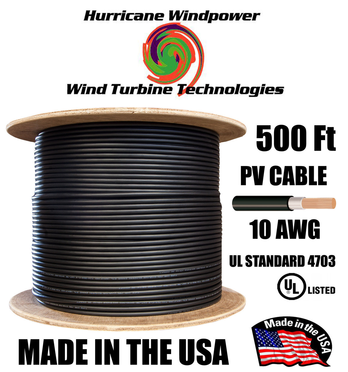 PV Cable 10 AWG 1000 Volt Solar PV Wire (MC4 compatible) 500FT Double-Insulated BLACK
