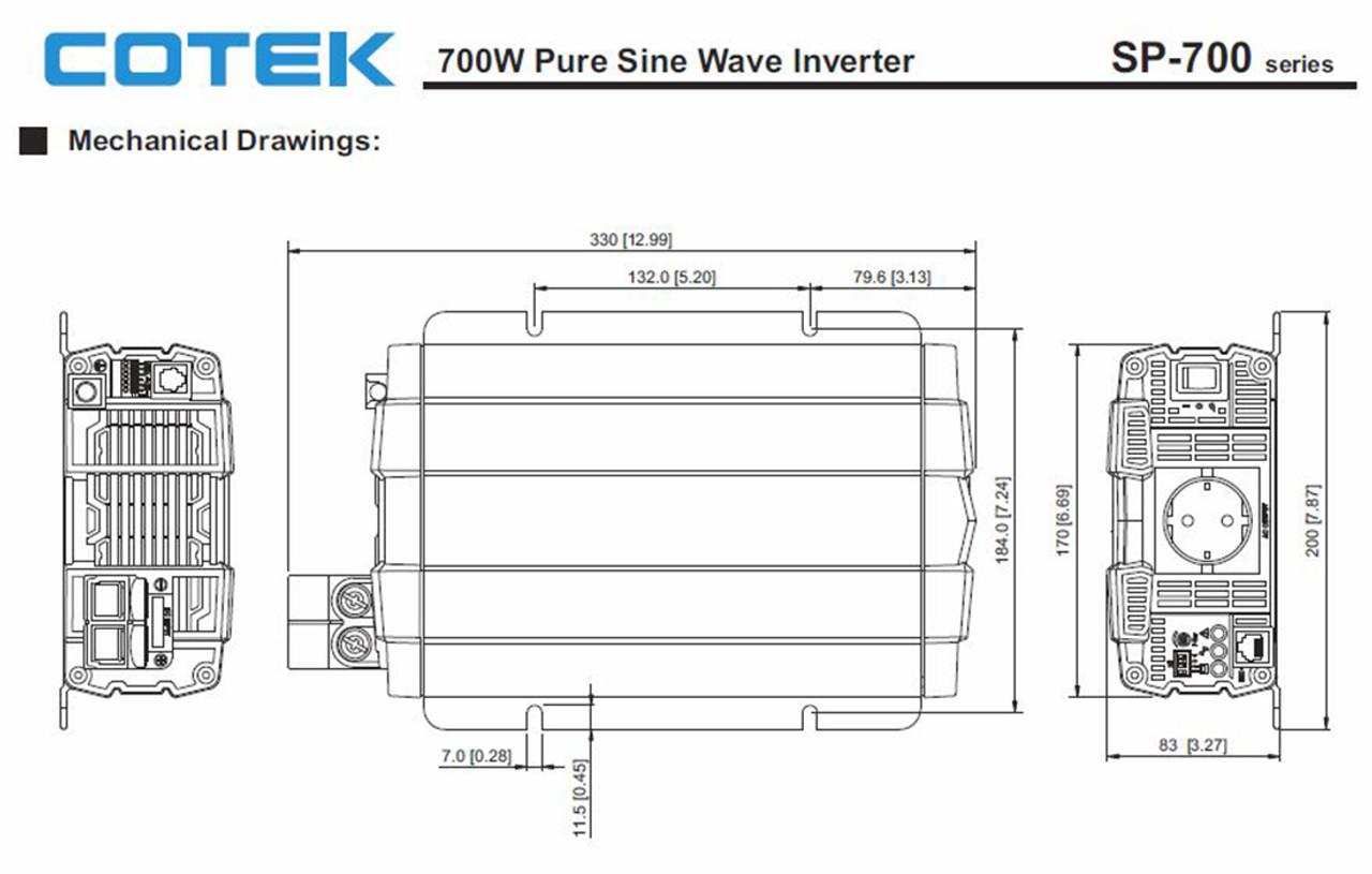 Cotek SP700-212 700 Watt 12 Volt Pure Sine Wave Inverter EN Certified