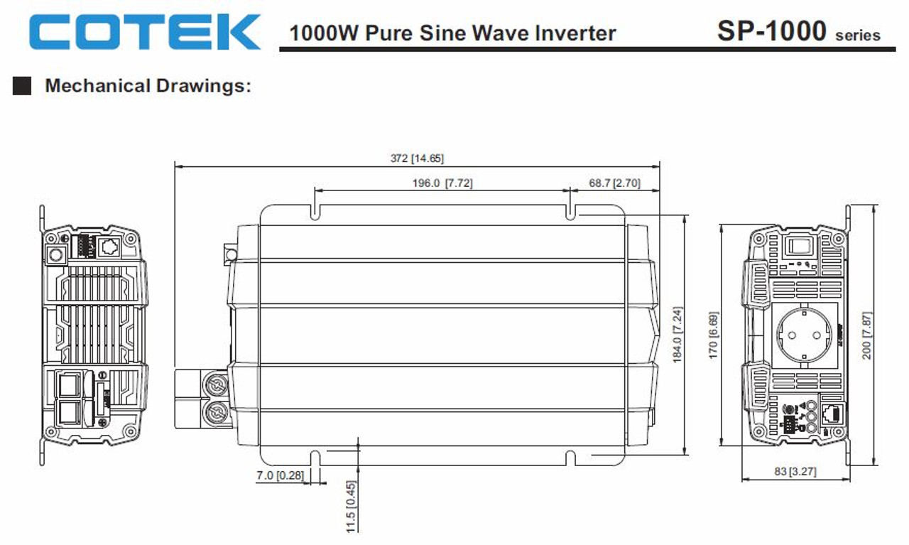 Cotek SP1000-224 1000 Watt 24 Volt Pure Sine Wave Inverter EN Certified