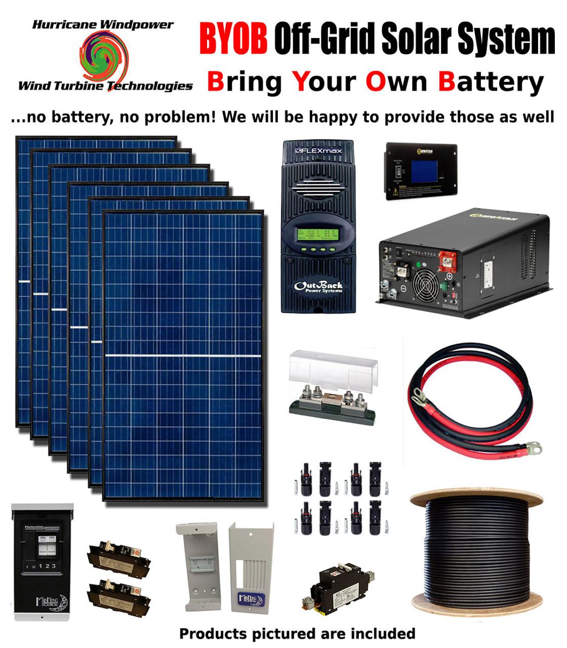 BYOB Off-Grid 1 7KW 24V Solar Panel Kit Tiny House Cabin PV System Outback  FM80