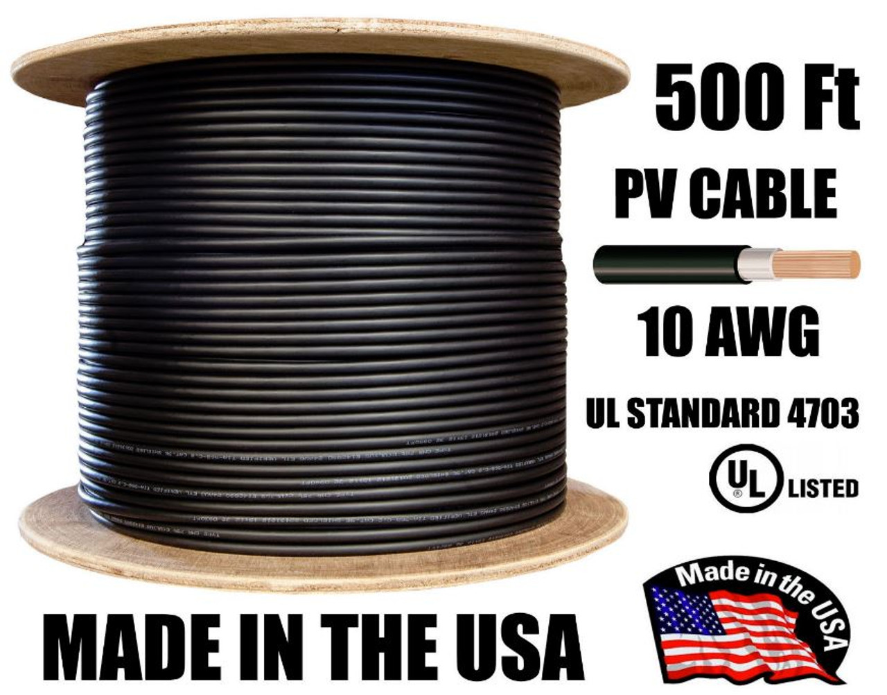 500 Ft Spool of 10 AWG 1000V Double Jacket PV Cable Black