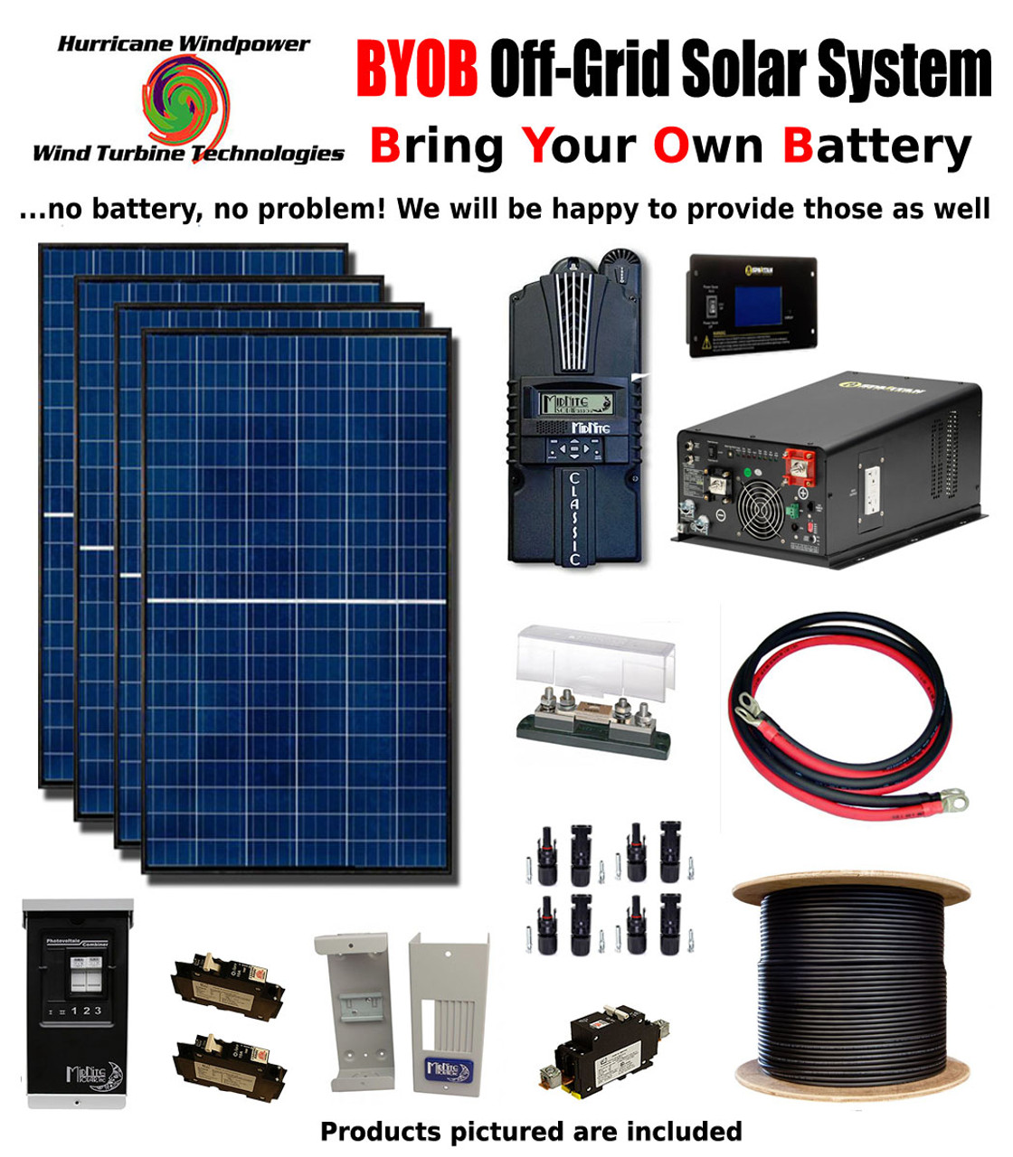 BYOB Off-Grid 1.1KW 12V Solar Panel Kit Tiny House PV System Midnite Classic 150 w/ 3300 Watt 12V Inverter/Charger