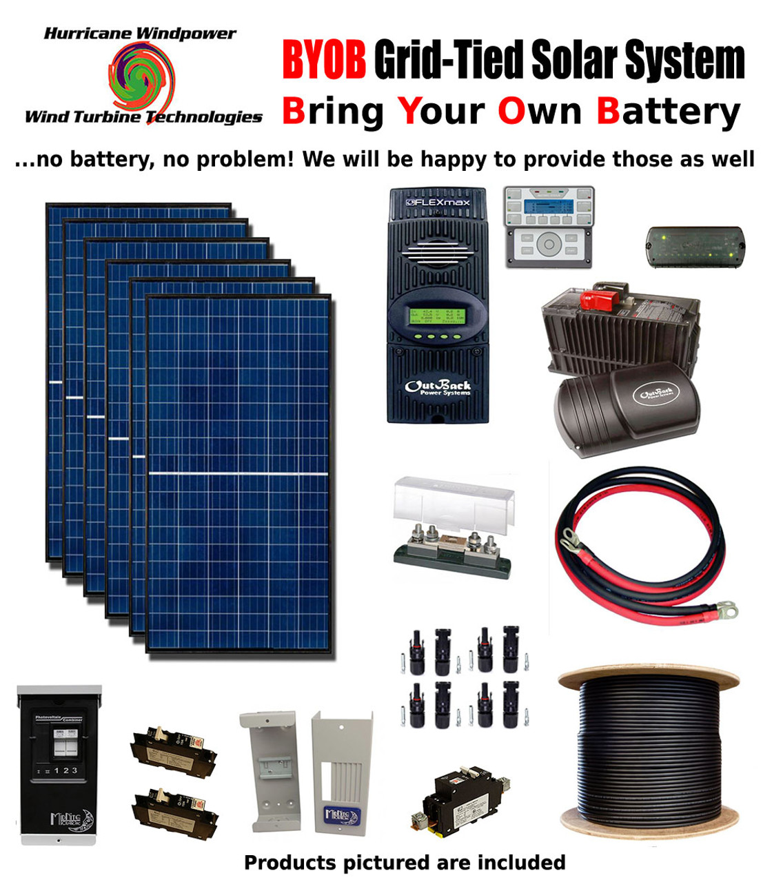 BYOB Grid-Tied 1.7KW 24V Solar Panel Kit Tiny House Cabin PV System Outback FM80