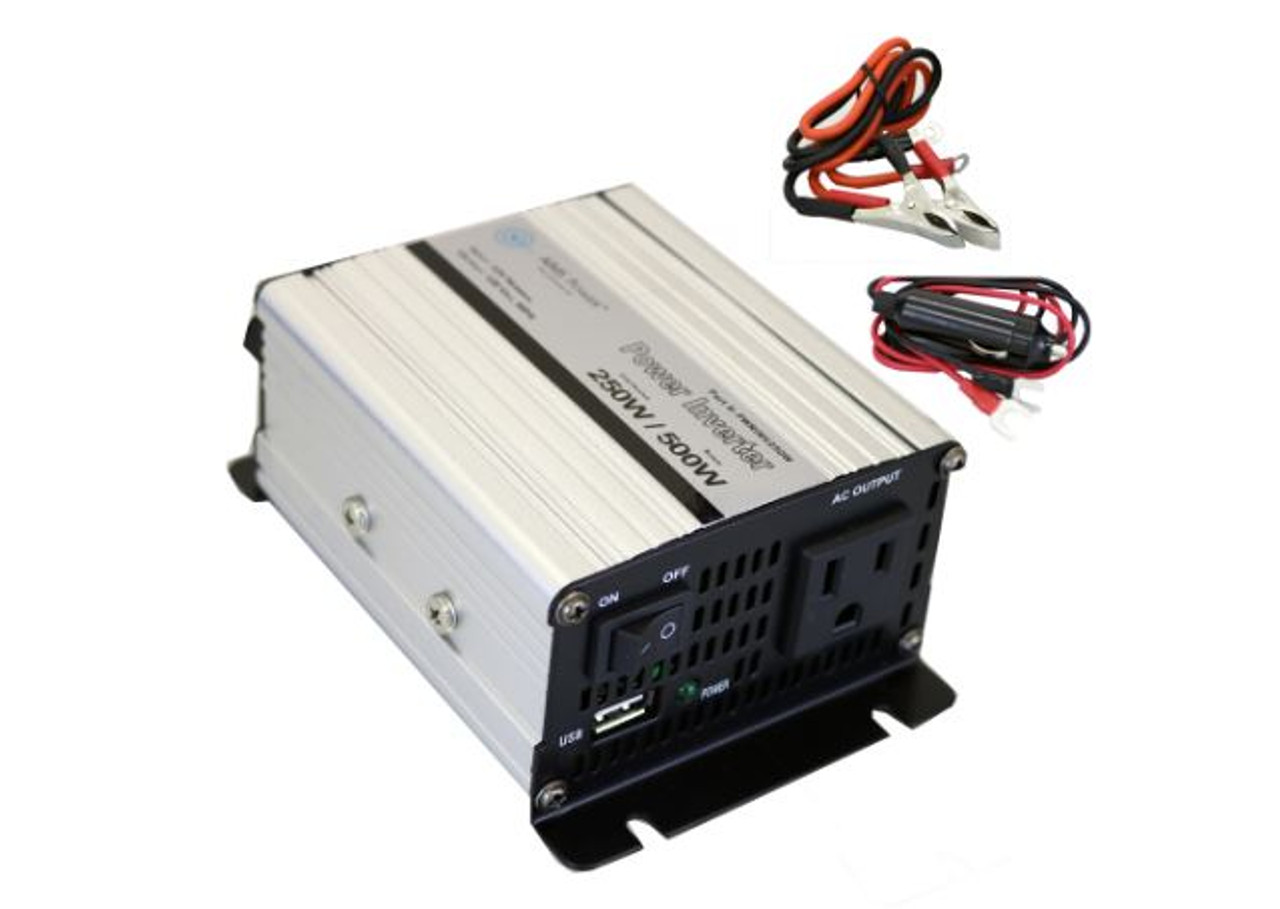 AIMS 250 Watt Modified Sine Wave Power Inverter 12 Volt with Cables, USB Port PWRINV250W