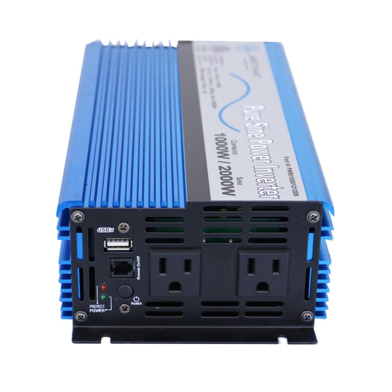 AIMS 1000 Watt Pure Sine Power Inverter 12 Volt ETL Listed to UL 458