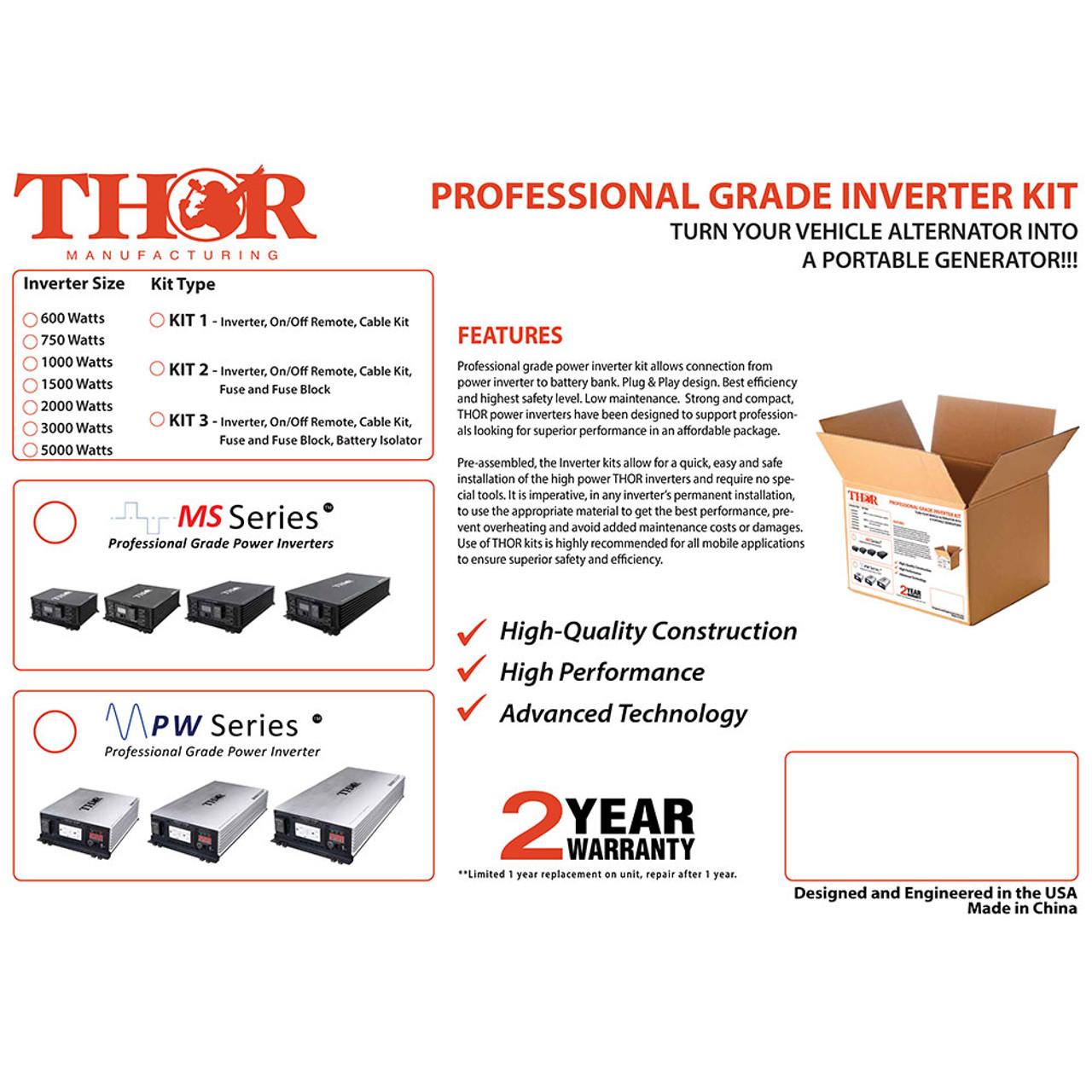 THOR THPW2000 KIT2 Professional Grade Inverter KIT