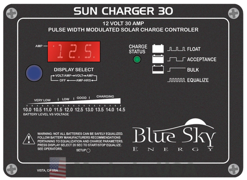 Blue Sky Blue Sky Energy Solar Boost Sun Charger 30, 30A, 12V Solar Charge Controller with Display
