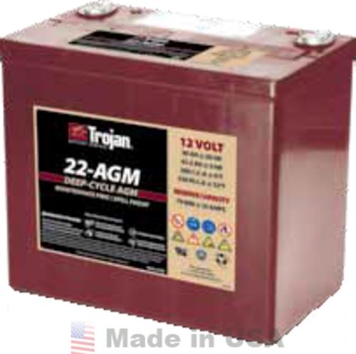 Trojan 22-AGM 12V, 50AH (20HR) AGM Sealed Battery