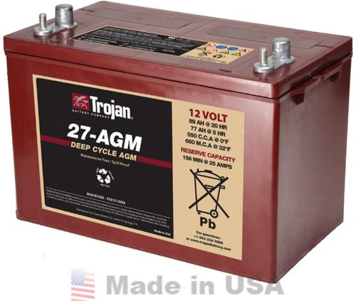 Trojan 27-AGM 12V, 89AH (20HR) AGM Sealed Battery