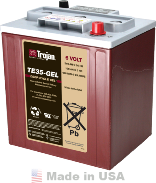 Trojan TE35-GEL, 6V 210AH (20HR) Gel Battery