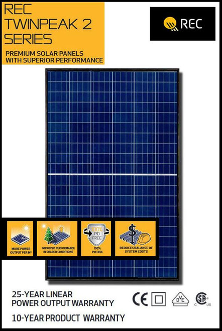 REC Twin Peak 290 Watt Poly Solar Panel