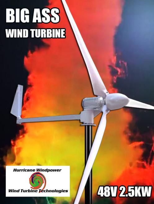 Hurricane BIG ASS Wind Turbine Generator Kit 2.5 KW 2500 Watts 48V Real Output