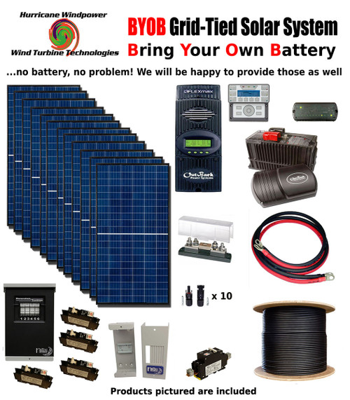 byob grid-tied 3 4kw 48v solar panel kit tiny house cabin pv system outback