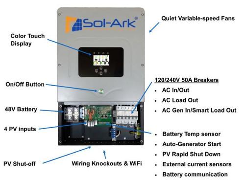 Sol-Ark 8K Hybrid Inverter 120/240V Split Phase Grid Tied, Hybrid, or Off-Grid