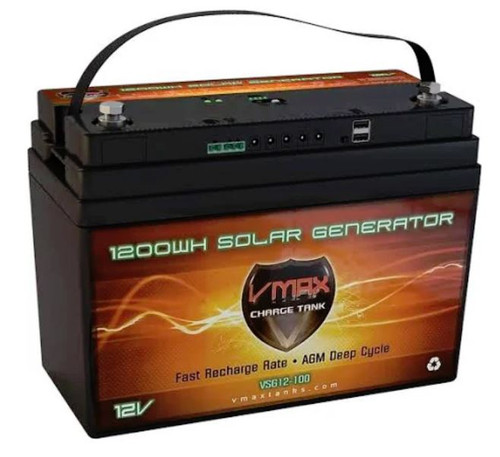 VMAX Charge Tank VSG12B 12 Volts 1300WH, 100AH Solar Battery with built in  Solar Controller, LED/DC & USB Outputs