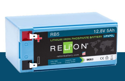 RELiON RB5 12V 5Ah Deep Cycle Lithium Iron Phosphate Battery LiFePO4