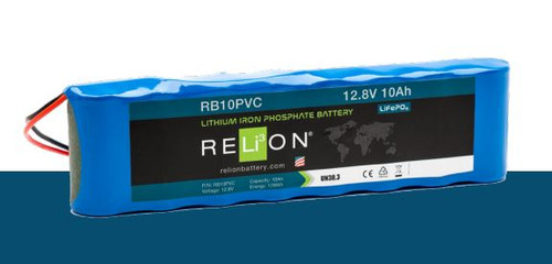 RELiON RB10PVC 12V 10Ah Lithium Iron Phosphate Battery LiFePO4 Lightweight PVC Wire Leads