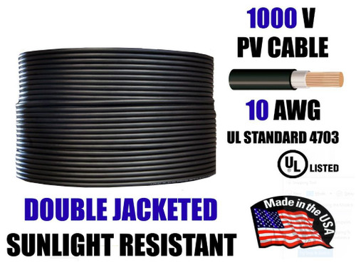10 AWG Gauge PV Wire 1000V Pre-Cut 5-300 foot for Solar Installation Double Jacketed Copper, Sunlight Resistant, USA Made