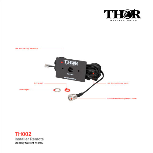 Installer Remote Control w/ Removable Face Plate and LED for THOR THMS and THPW Inverters