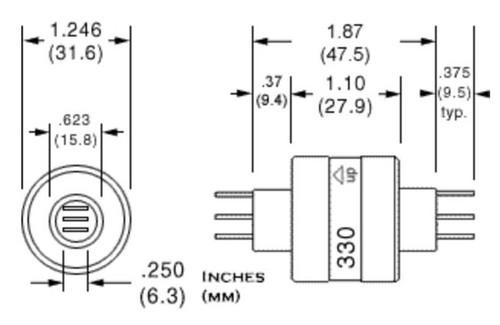 MERCOTAC 330 Slip Ring 3 Conductor