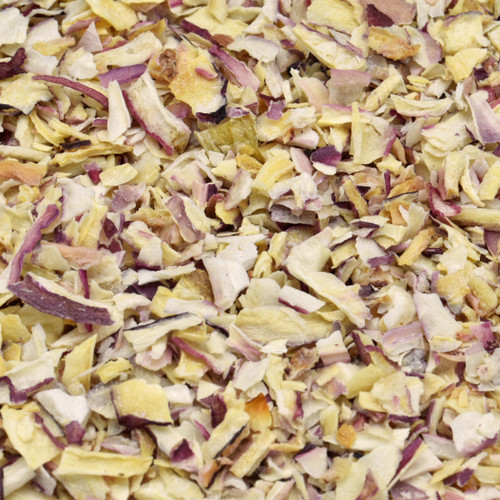 "shallots, cut & sifted, 1/4"" dice"