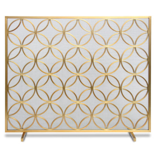 "Pilgrim Single Panel Bedford Brass Screen 39""W x 31""H"
