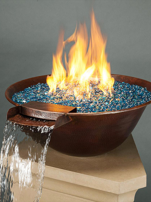 """31"""" Tempe Copper Fire and Water Bowl with Fire & Water Option"""