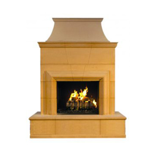 This classic outdoor fireplace provides a warm environment for friends and family to spend an evening together. The American Fyre Designs Fireplaces incorporate a beautiful outdoor setting for all seasons.  Model Shown: 022-20-N-CB-xxC  Finish Shown: Cafe Blanco [CB]  Dimensions: 76″ w x 41″ d x 95″ h