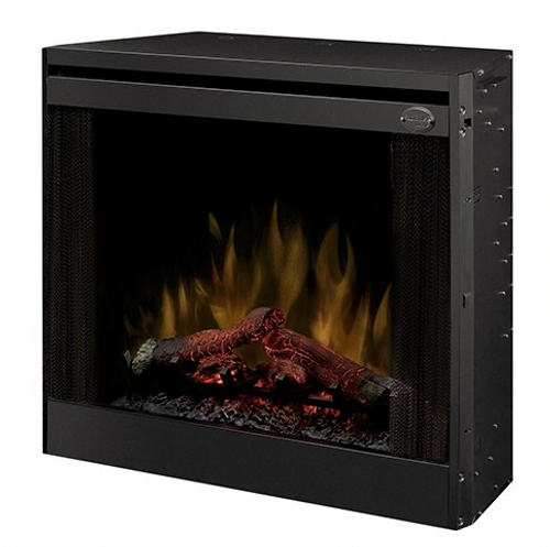 """33"""" Slim Direct-wire Firebox - 1440W/120V, 2100W/208V, 2700W/240V. 100% LED flame technology with hand finished LED Logs. Includes 3-stage remote control and optional 3 piece trim kit. Optional door kit and plug kit sold separately"""