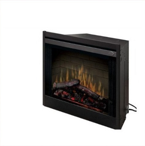 "33"" Direct-wire Firebox - 1440W/120V, 2100W/208V, 2700W/240V with brick refractory and LED pulsating Logs. Optional door kits, glass kits, trim kits and plug kits sold separately."