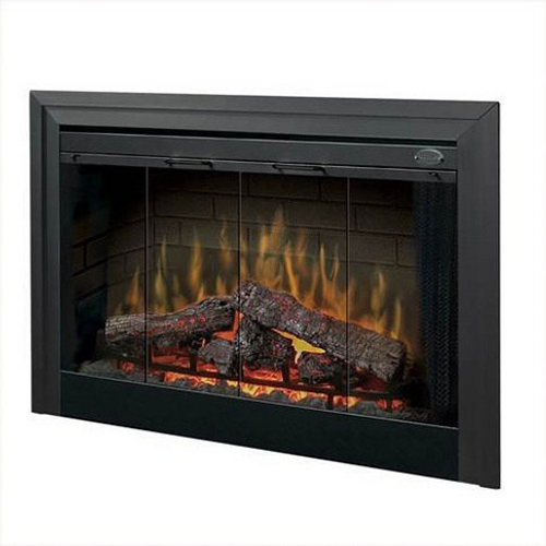 """45"""" Direct-wire Firebox - 1440W/120V, 2100W/208V, 2700W/240V with brick refractory and LED pulsating Logs. Optional door kits, glass kits, trim kits and plug kits sold separately."""