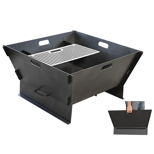 Collapsible design makes this firepit portable, and allows for low profile storage. Available in steel or stainless.