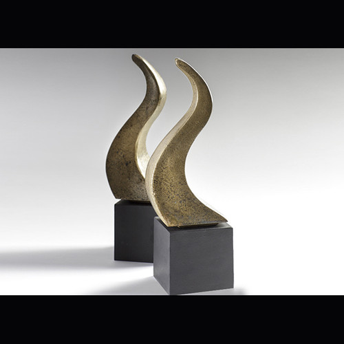 "A pair of Swan Fire Dogs in a patinated antique gold finish  Overall size 4"" (102m) W x 4"" (102mm) D x 14"" (356mm) H"