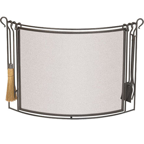 "Pilgrim Bowed Screen With Hearth Tools 48""W x 30""H"