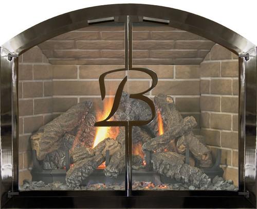 Bar Iron Plated Fireplace Doors