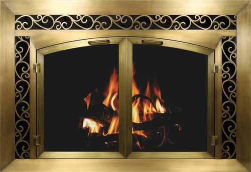 Bar Iron Plated Fireplace Doors