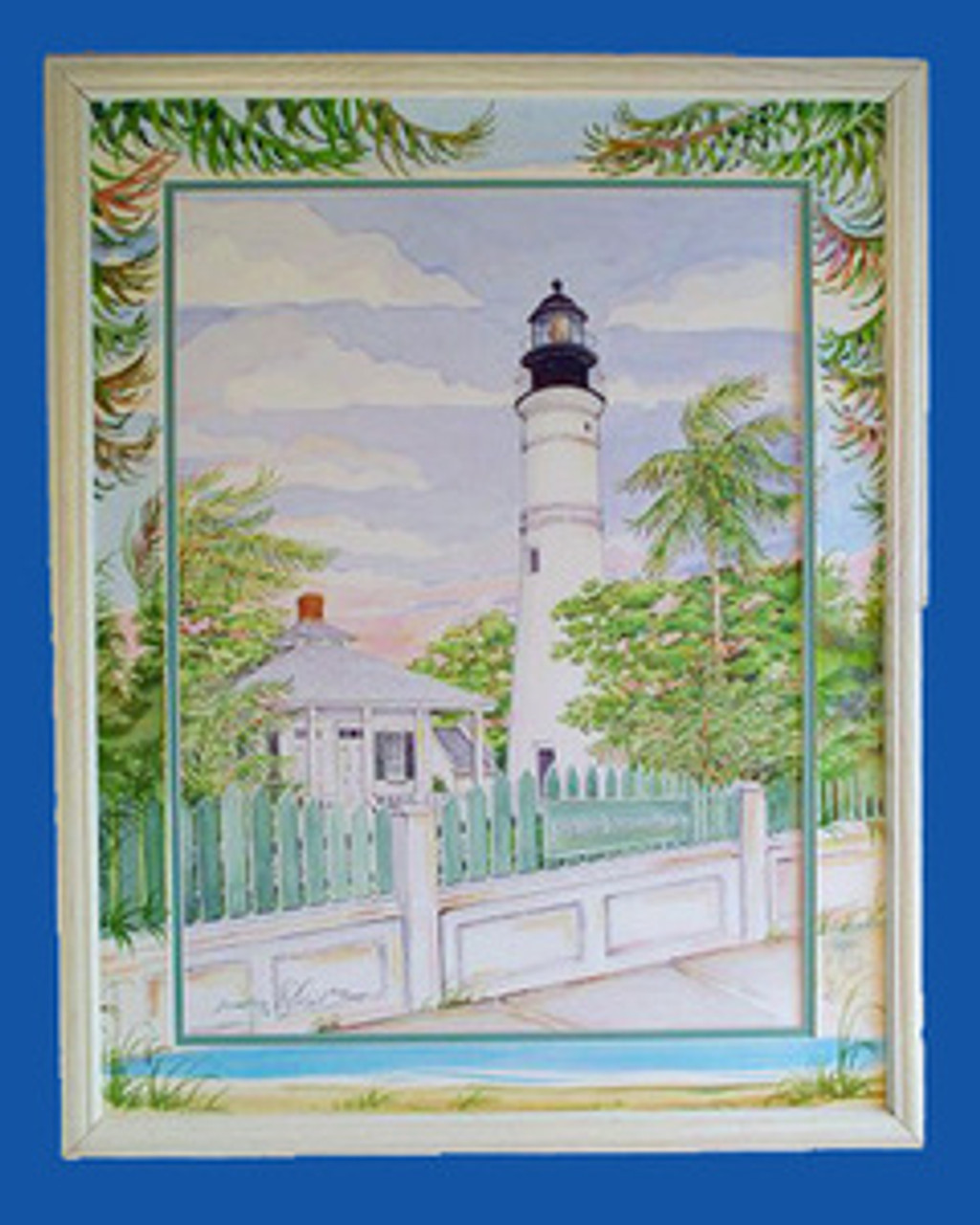 Key West Lighthouse with Hand Painted Matting