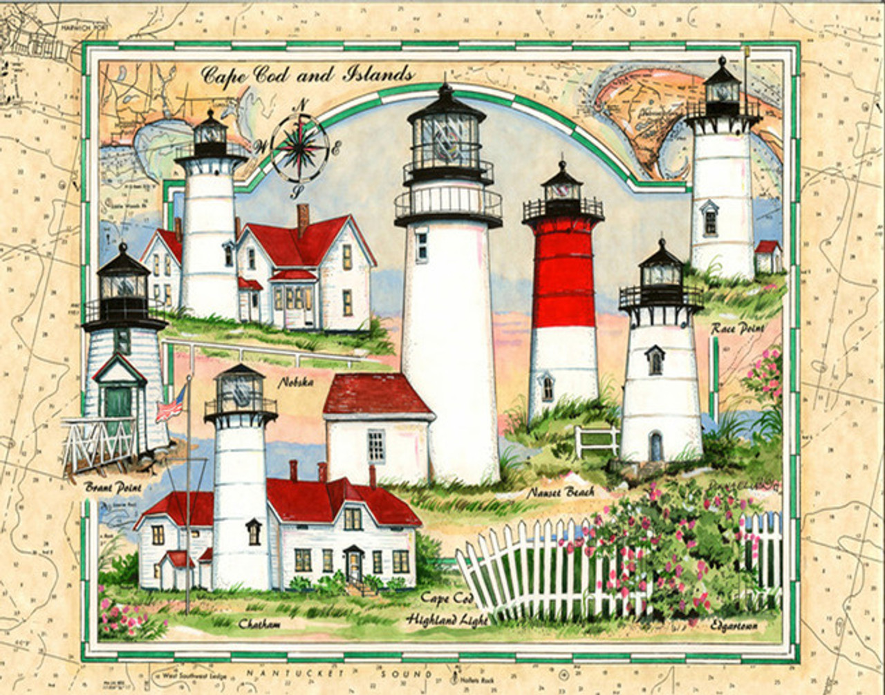 Cape Cod Sea Chart Lighthouse Collage by Donna Elias