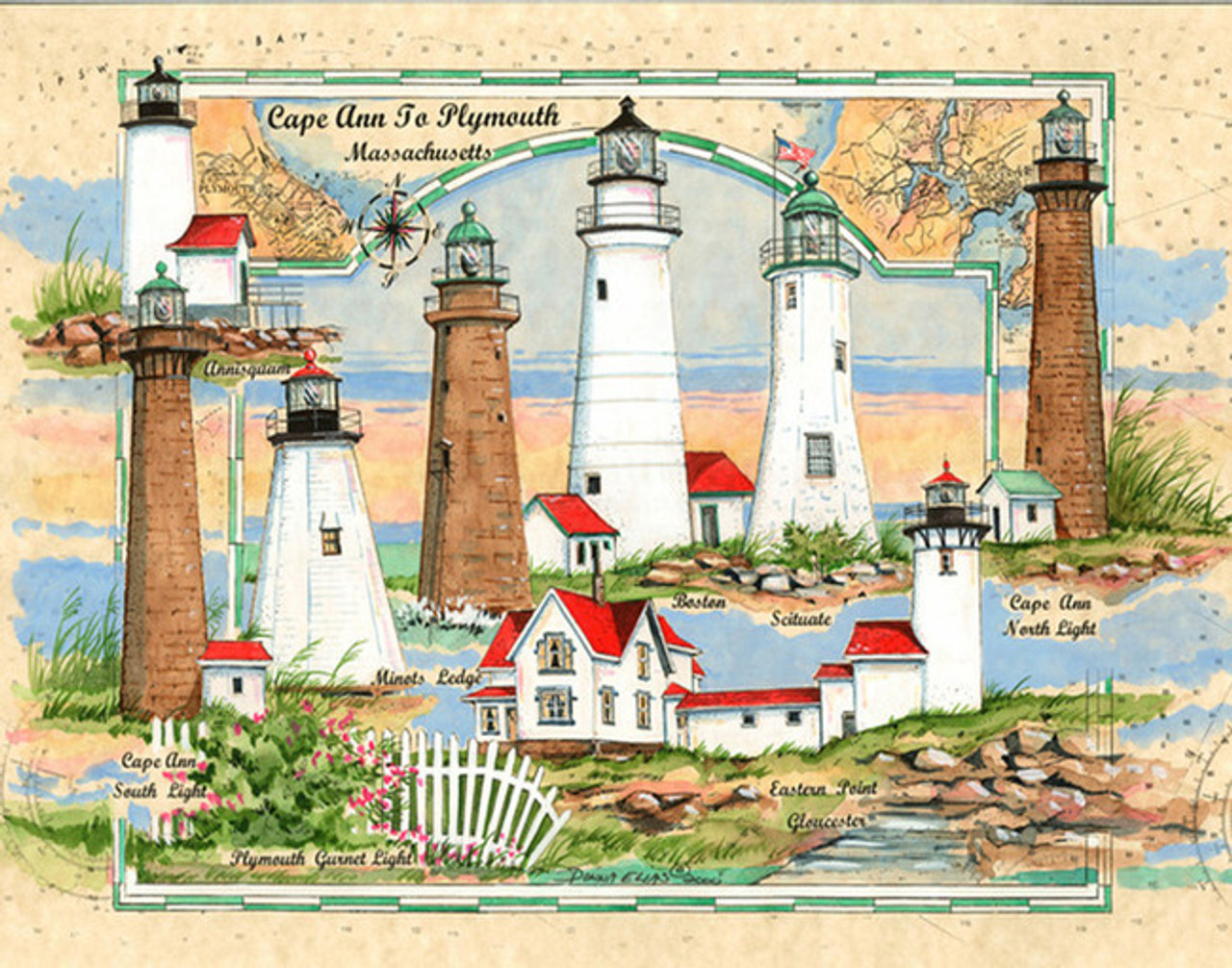 Cape Ann to Plymouth, Ma - Sea Chart Light Collage by Donna Elias