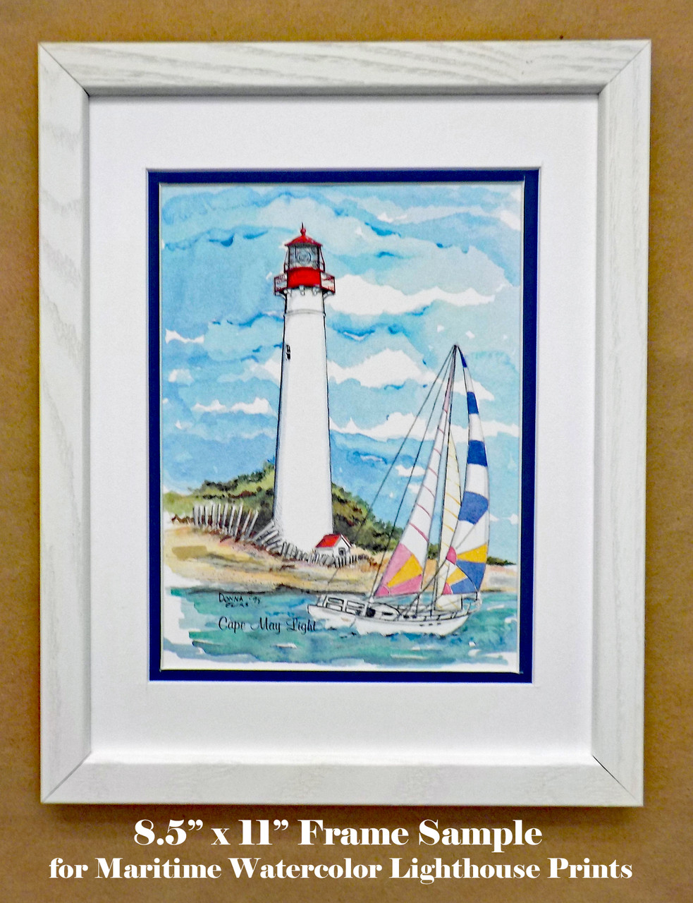 Frame and matting sample shown with Cape May Lighthouse