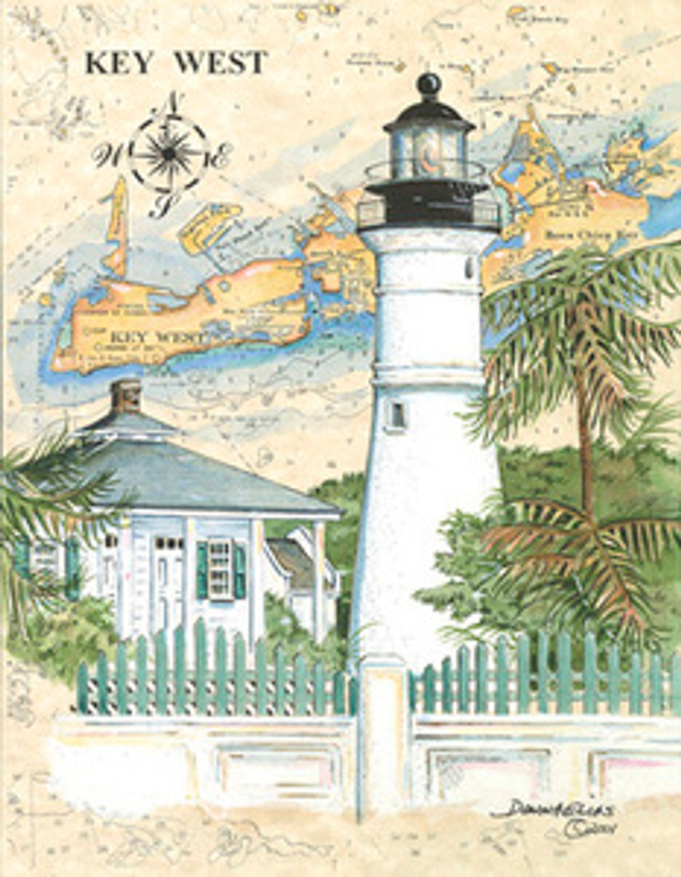Florida Lighthouses Collection - 10 Sea Chart Light Prints